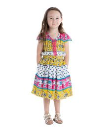 Masala Baby Cap Sleeves Navi Dress Elephant Print - Yellow