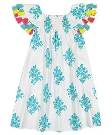 Masala Baby Cap Sleeves Sundancer Dress Jardin Print - Turquoise Blue