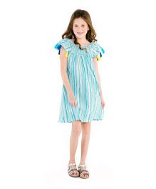 Masala Baby Cap Sleeves Sundancer Dress Metallic Stripe - Turquoise Blue