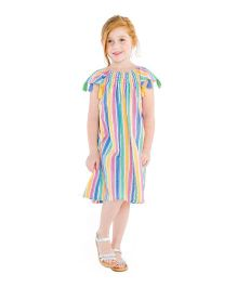 Masala Baby Cap Sleeves Sundancer Dress Rainbow Stripe - Multicolor