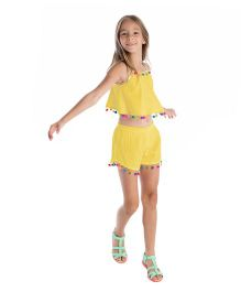 Masala Baby Pom Pom Shorts - Yellow