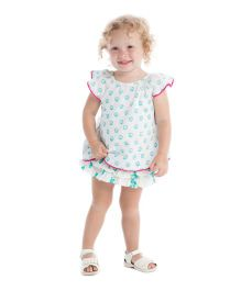 Masala Baby Flutter Sleeves Top And Ruffle Bloomer Jardin Butti Print - Turquoise