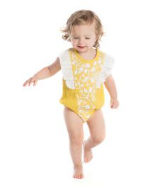 Masala Baby Ruffle Sleeves Onesie Embroidered - Yellow