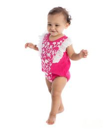 Masala Baby Ruffle Sleeves Onesie Embroidered - Pink