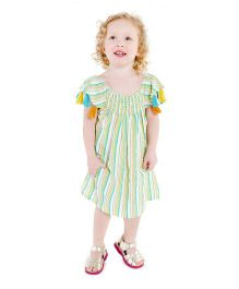 Masala Baby Cap Sleeves Sundancer Dress Stripe - Green & Yellow