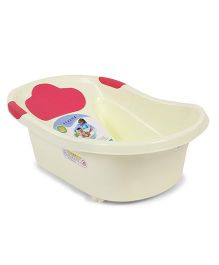Baby Bath Tub Baby Bear Print - Cream & Pink