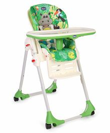 Chicco Polly Easy High Chair Happy Jungle Print - Green