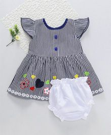 M'Princess Basics Flower Applique Casual Dress - Navy