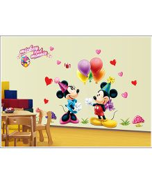 Oren Empower Mickey & Minnie With Balloon Pvc Vinyl Large Wall Sticker - Multicolour