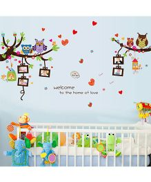Oren Empower Artistic Owls With Photo Frame PVC Vinyl Stickers - Multicolor