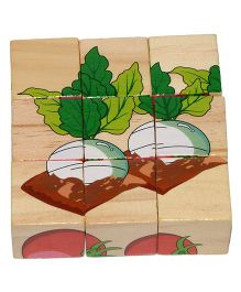 VibgyorVibes 6 In 1 Wooden Blocks Puzzle Vegetable Print - Multicolour