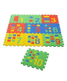 NHR Puzzle Playmat With Pop Out Number Shapes Pack of 10 - Multi Colour