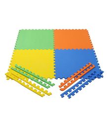 NHR Interlocking Puzzle Mat Pack of 4 - Green Orange Blue Yellow