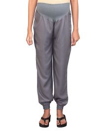 Kriti Maternity Full Length Twill Joggers - Grey