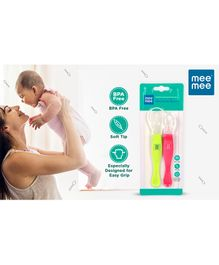 Mee Mee 3 In 1 Baby Weaning Spoon Set of 2 - Pink Green