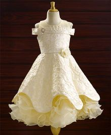 Bluebell Party Wear Sleeveless Dress Flower Applique - Cream