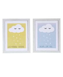 Fly Frog Cloud Theme Wooden Wall Art Set of 2 - Yellow Blue
