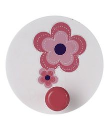 Fly Frog Wooden Wall Hook Flower Design - White Pink