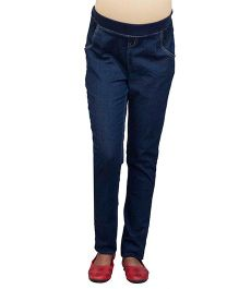 Kriti Full Length Ribbed Waist Maternity Denim Jeans - Dark Blue