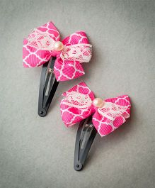 Ribbon Candy Bow With Lace Tic Tac - Pink & White