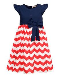 Bella Moda Chevron Printed Dress With Bow Design - Navy Blue