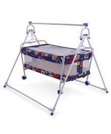 Mothertouch Baby Cradle Cum Cot Multi Print - Dark Blue (Mattress Color May Vary)