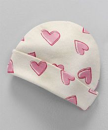 Dear Tiny Baby Heart Printed Cap - Pink