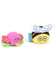 Sassy Wrist Rattle Bee & Bird Shape - Pink And Yellow