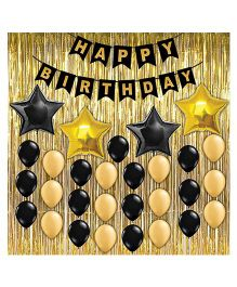 Party Propz Birthday Decoration Set Gold Black - 33 pieces