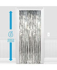 Party Propz Decorative Foil Fringe Party Curtain Metallic Silver - Pack of 2