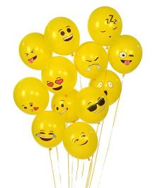 Party Propz Balloons Smiley Print Yellow - 25 Pieces