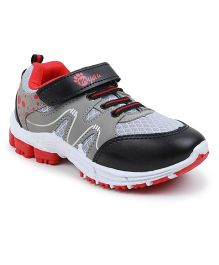Myau Velcro Closure Running Shoes - Grey Red