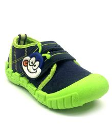 Myau Smiley Velcro Closure Shoes - Navy Green