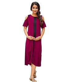 MOMZJOY Cold Shoulder Stretchable Maternity Dress - Maroon