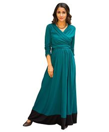 MOMZJOY Front Wrap Maternity & Nursing Dress - Teal