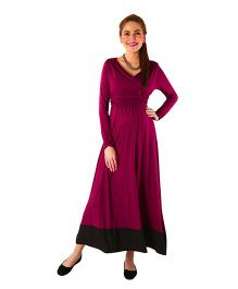 MOMZJOY Front Wrap Maternity & Nursing Dress - Maroon