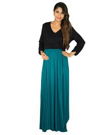 MOMZJOY Maternity & Nursing Wrap Dress - Black and Teal