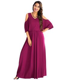 MOMZJOY Cold Shoulder Maternity & Nursing Maxi Dress - Maroon