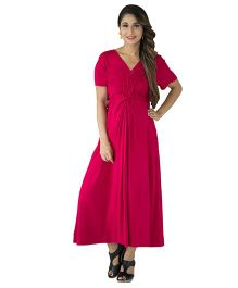 MOMZJOY Royal Carnation Front Knot Lycra Maternity Dress - Red Pink Mix