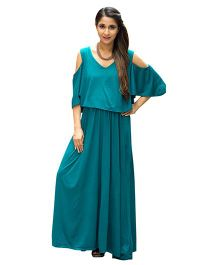 MOMZJOY Cold Shoulder Maternity & Nursing Maxi Dress - Teal