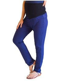 MOMZJOY Over Bump Maternity Leggings - Blue