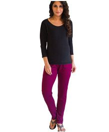 MOMZJOY Over Bump Maternity Leggings - Maroon