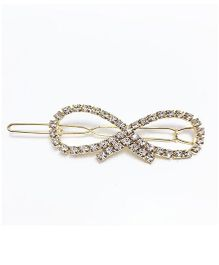 Flaunt Chic Gold Stone Bow Clip - Gold