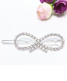Flaunt Chic Crystal Stone Bow Hair Clip - Silver