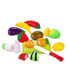 Toyshine Realistic Sliceable Fruits And Vegetables Play Set 12 Pieces - Multicolour