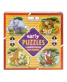 Early Puzzles - 4 Shaped Puzzles Wild Animals