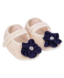 Daizy Contrast Flower Lace Strap Booties - Cream