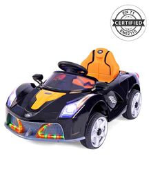 Babyhug Battery Operated Ride On Car With Disco Headlights & Foot Accelerator - Black