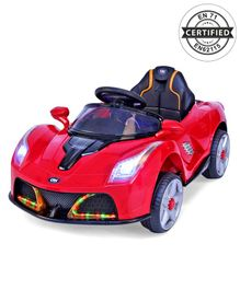 Babyhug Battery Operated Ride On Car With Disco Headlights & Foot Accelerator - Red