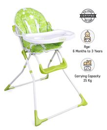 Babyhug Fun Feast Highchair With Adjustable Food Tray & 5 Point Safety Harness - Green
